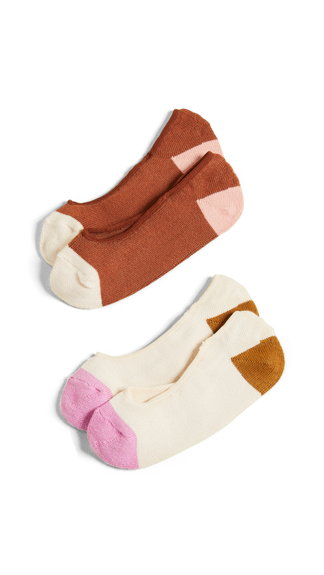 Madewell 2 Pack Colorblock No Show Socks In Light Petunia Multi