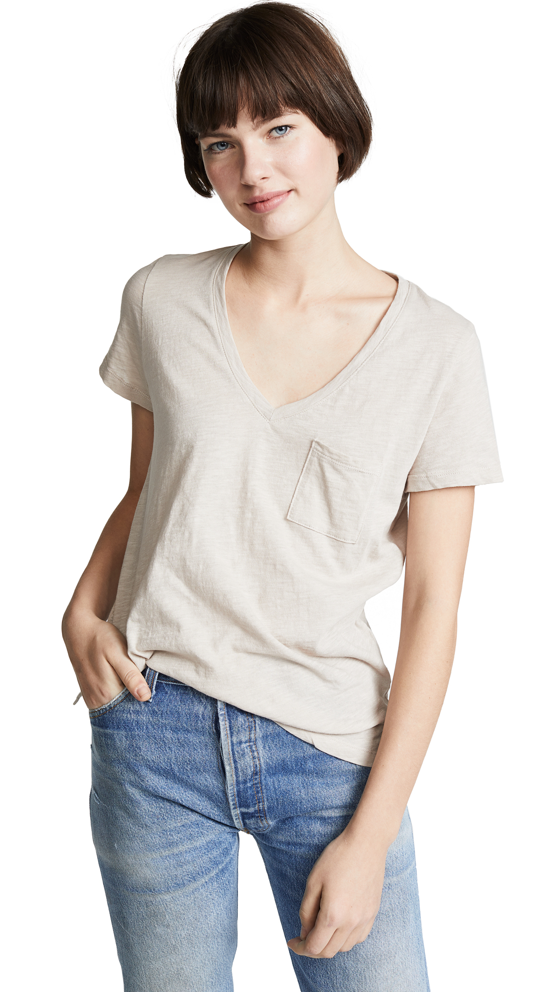Buy Madewell online - photo of Madewell Whisper Cotton V Neck Pocket Tee