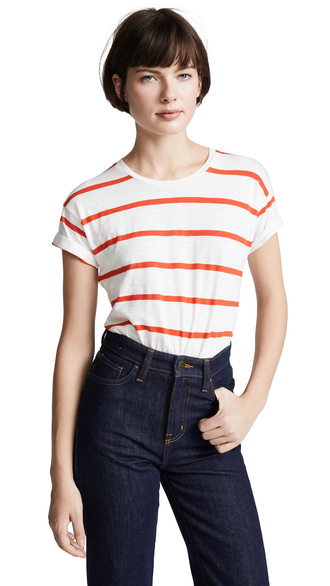 Madewell Whisper Stripe Crew Neck Tee - Red/White