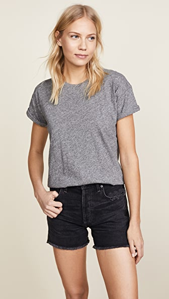 Madewell Whisper Cotton Crewneck T-shirt In Heather Iron