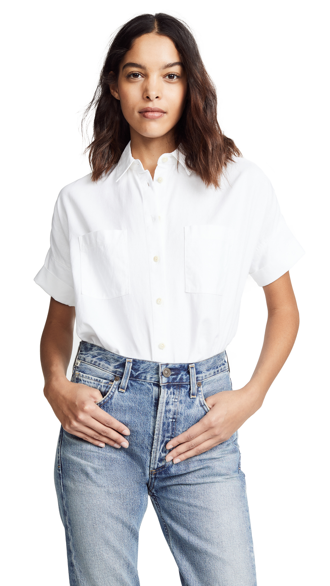 Buy Madewell online - photo of Madewell White Cotton Courier Shirt