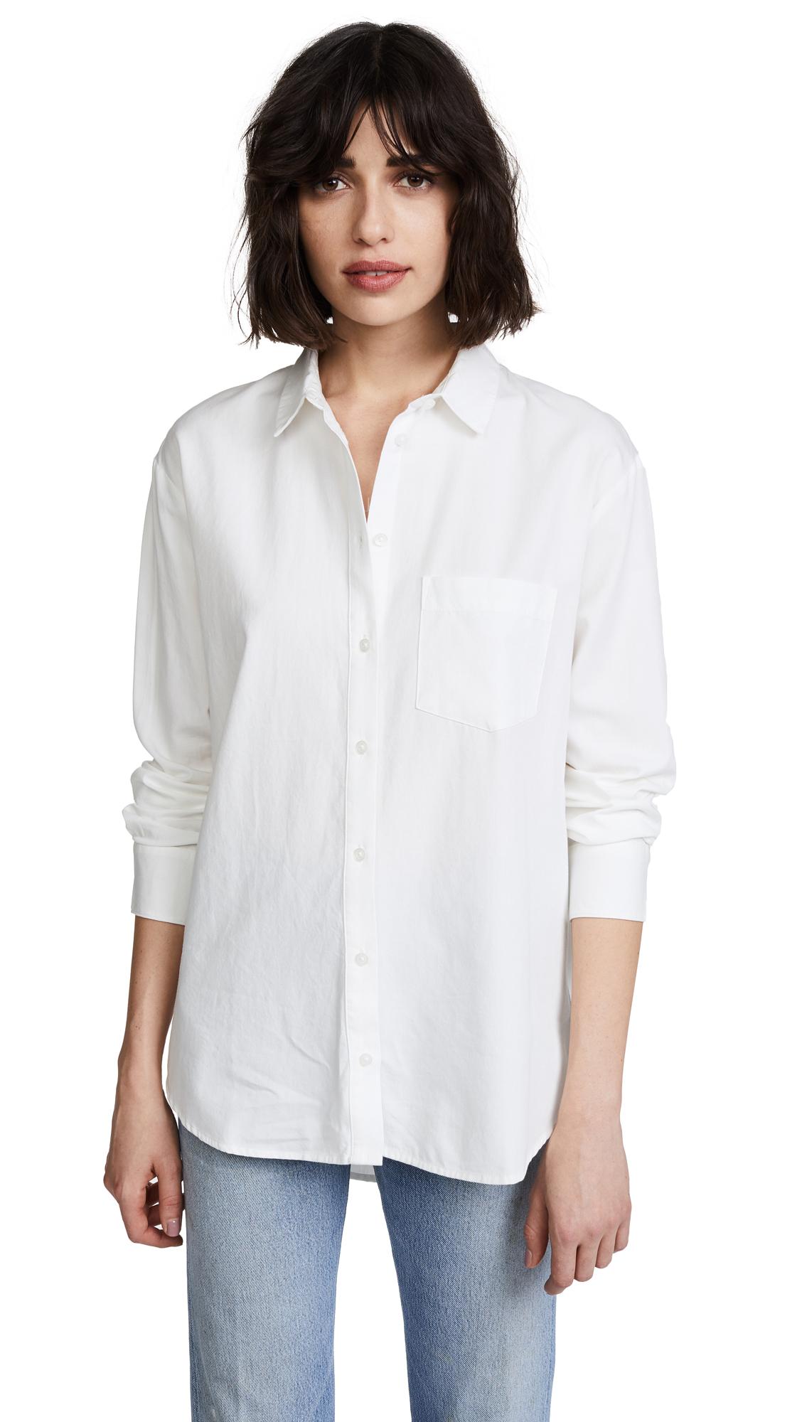Madewell Drapey Oversized Boyshirt - Pure White