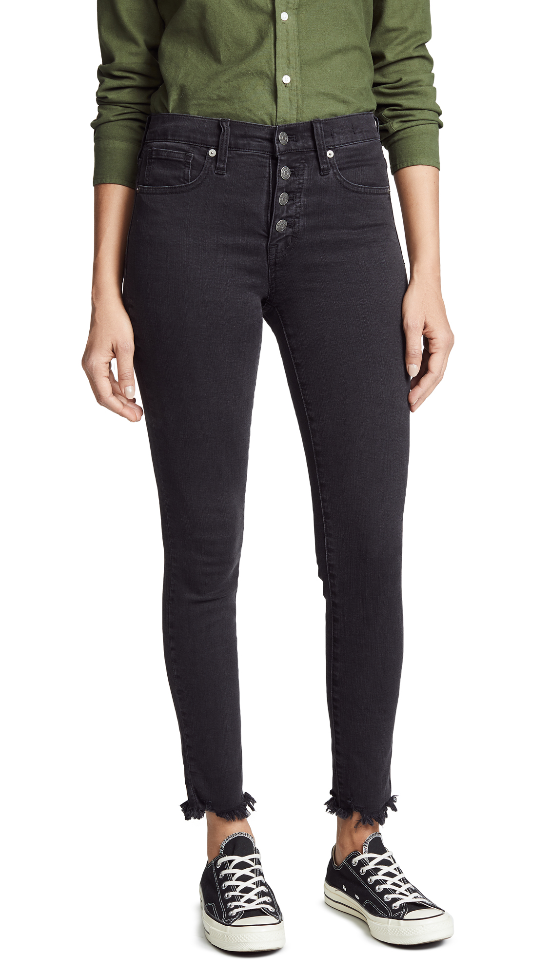 Madewell High Rise Skinny Jeans with Button Fly - Black