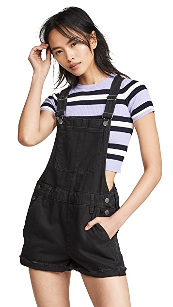 Photo of  Madewell Adirondack Short Overalls in Washed Black- shop Madewell Clothing, Jumpsuits online sales