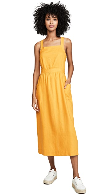 Madewell Garment Dyed Apron Midi Dress