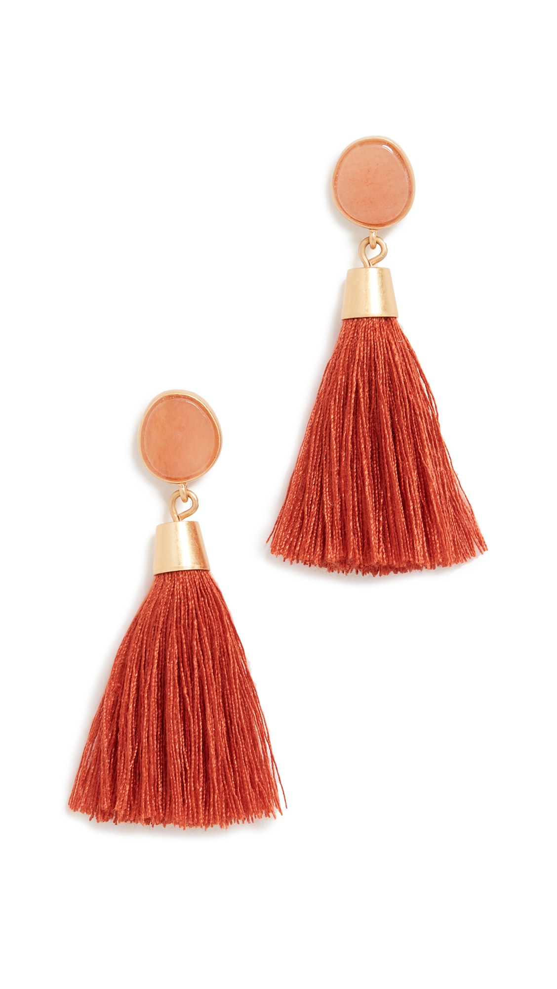 Madewell Stone & Tassel Earrings In Red