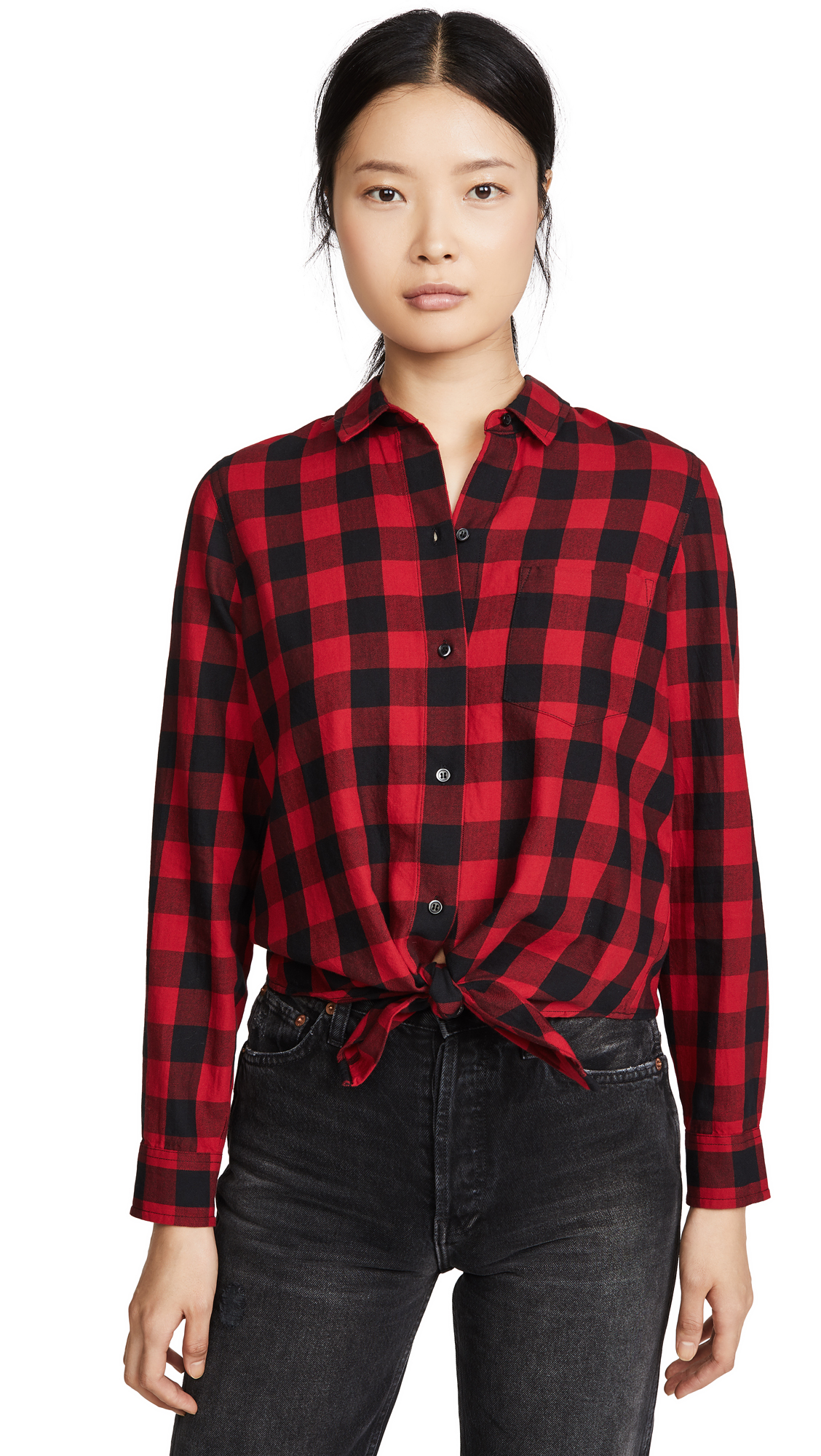 Buy Madewell online - photo of Madewell Buffalo Check Tie Front Button Down