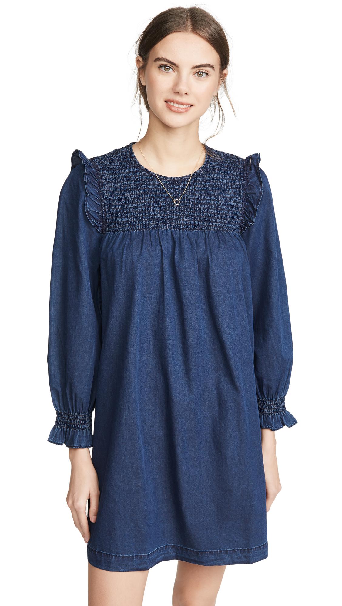 Madewell Indigo Ruffle Neck Smocked Babydoll Dress - 50% Off Sale