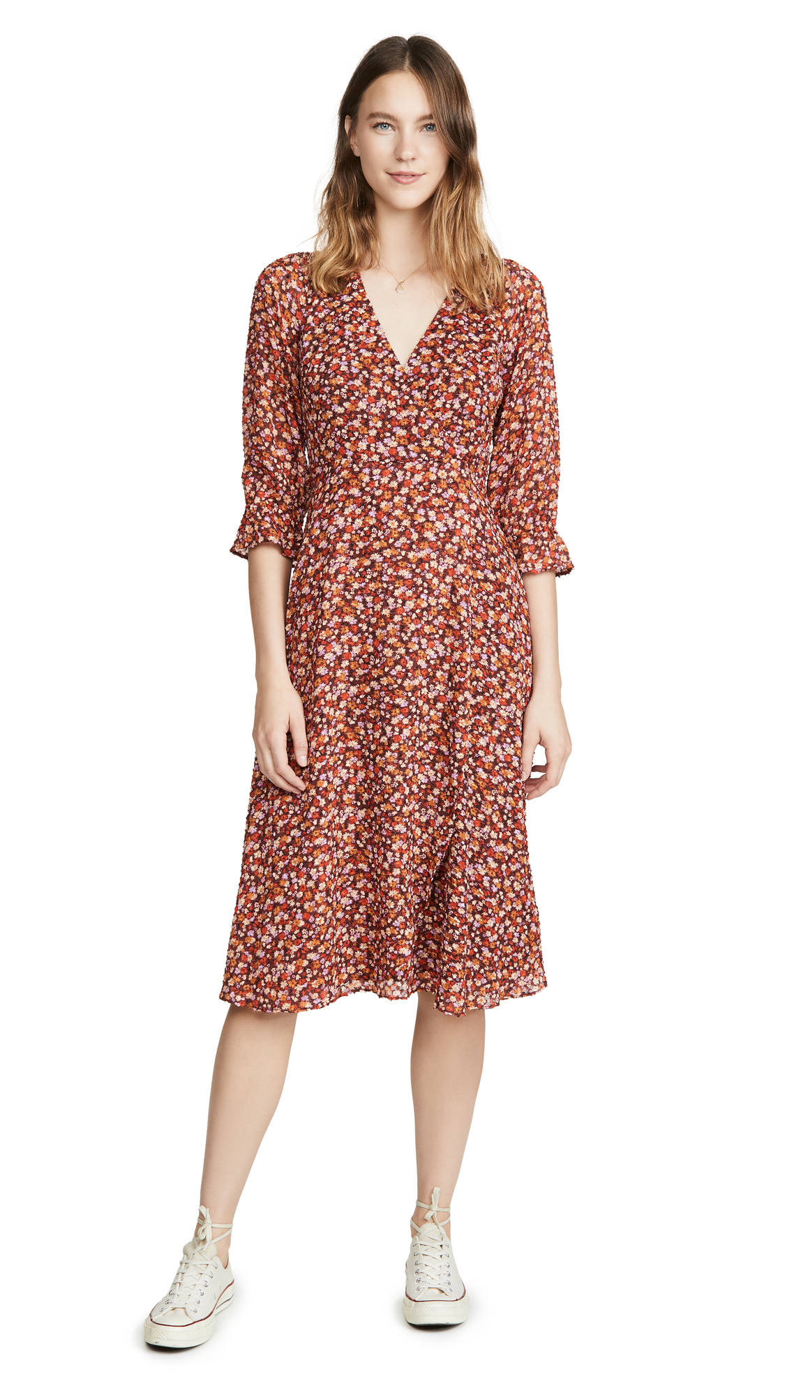 Buy Madewell online - photo of Madewell Long Sleeve Crossover Midi Dress
