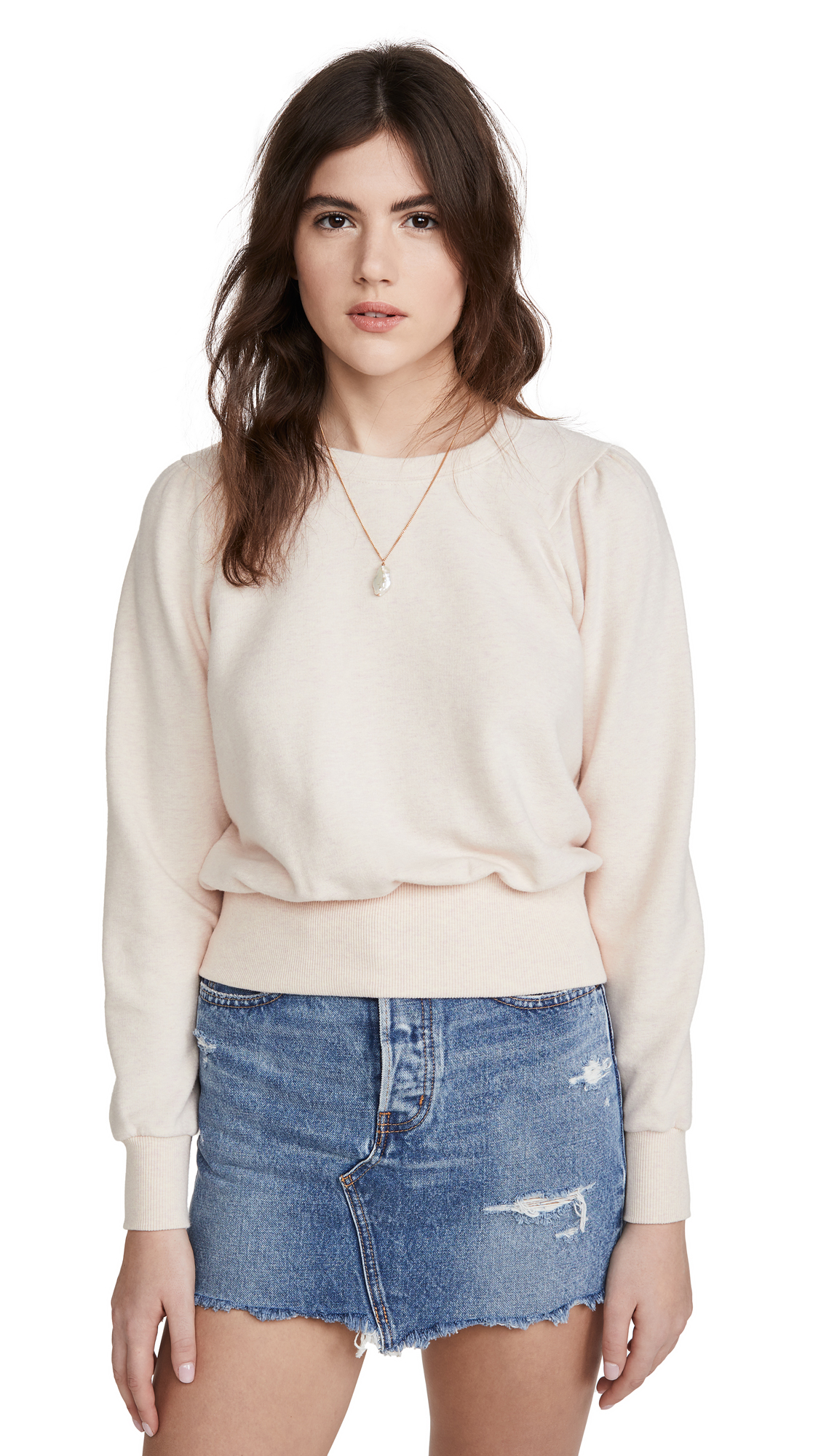 Photo of Madewell Heathered Puff Sleeve Raglan Sweatshirt - shop Madewell Clothing, Shirts, Tops online