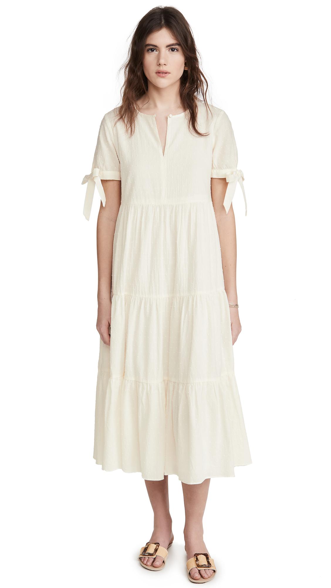 Buy Madewell online - photo of Madewell Tie Sleeve Tiered Midi Dress in Swiss Dot