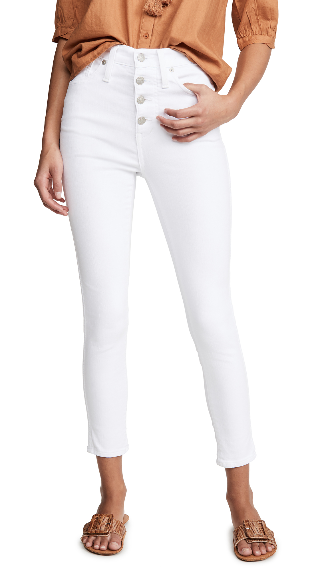 """Buy Madewell online - photo of Madewell 10"""" High Rise Button Front Skinny Jeans"""