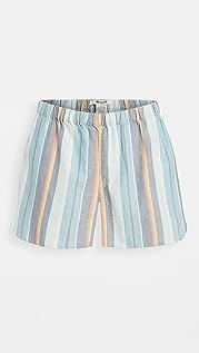 Madewell 索拉诺条纹睡眠时光短裤: 撞色滚边版本