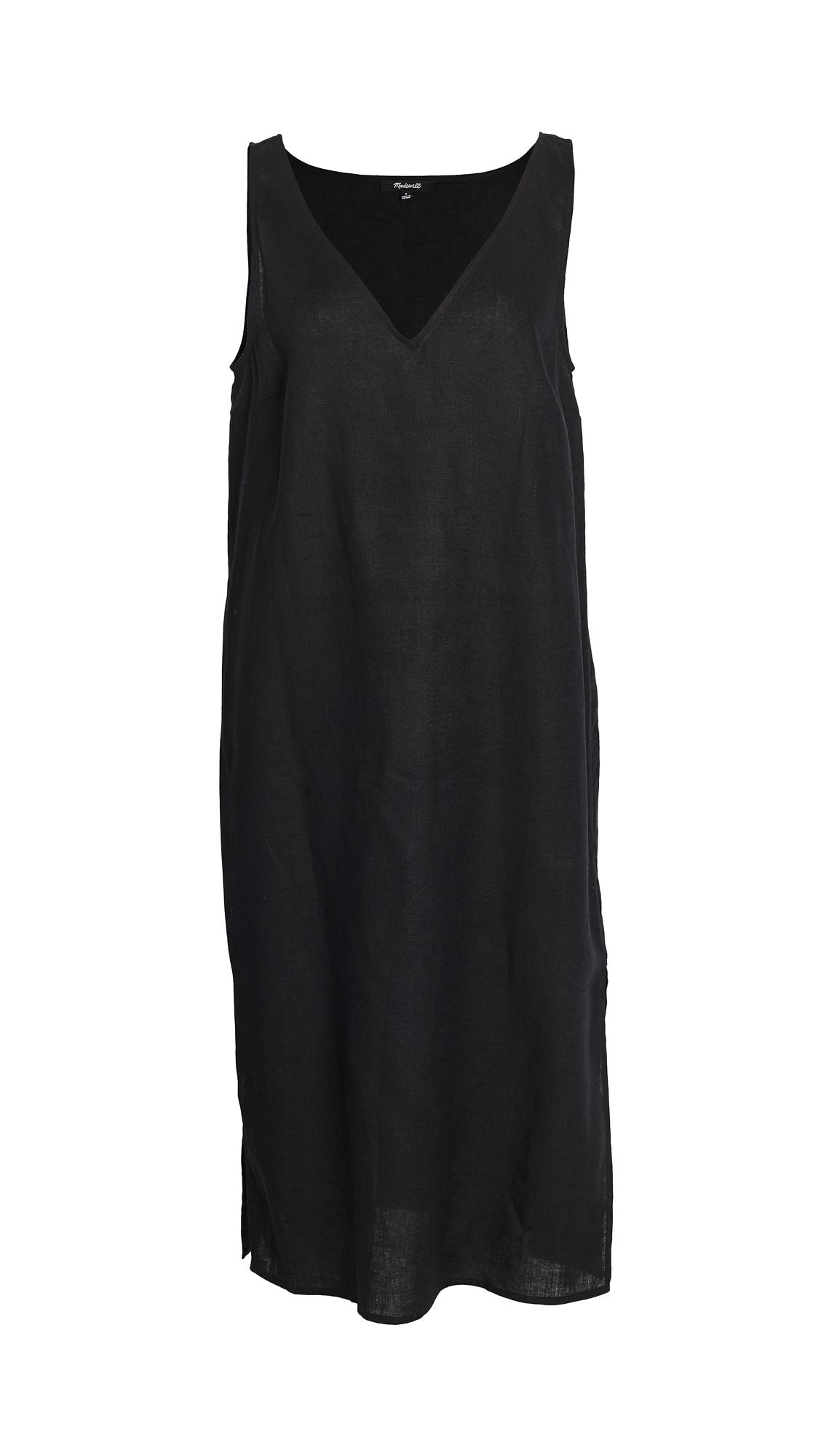 Madewell Linen V Neck Midi Dress