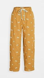 Madewell 束带经典直脚裤: 雏菊刺绣版本