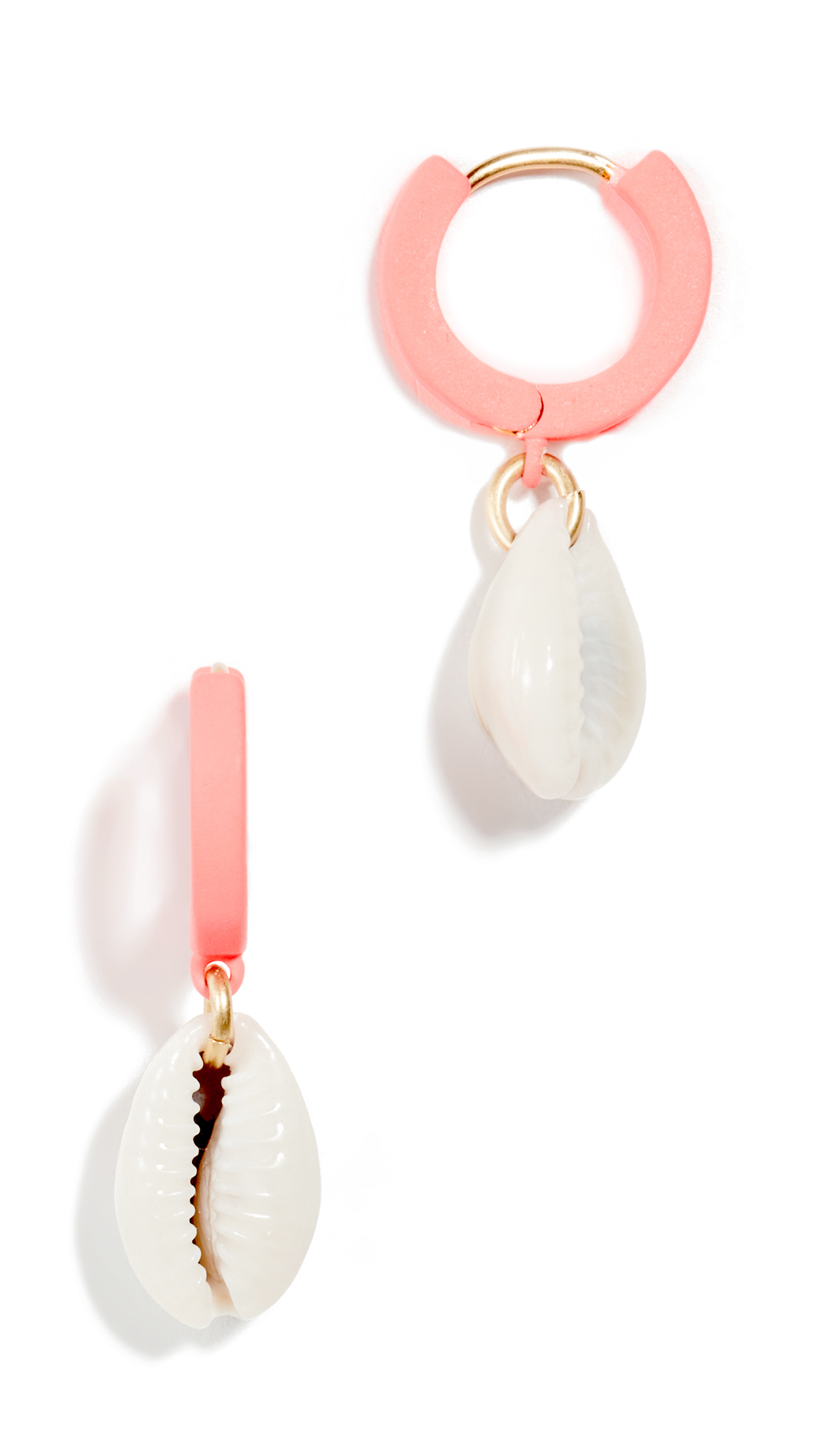 Madewell Cowrie Shell Charm Neon Hoop Earrings