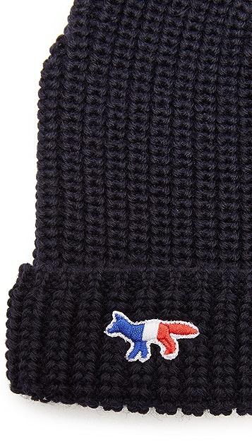 Maison Kitsune Ribbed Beanie Hat