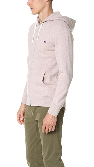 Maison Kitsune Tricolor Fox Patch Zip Sweatshirt