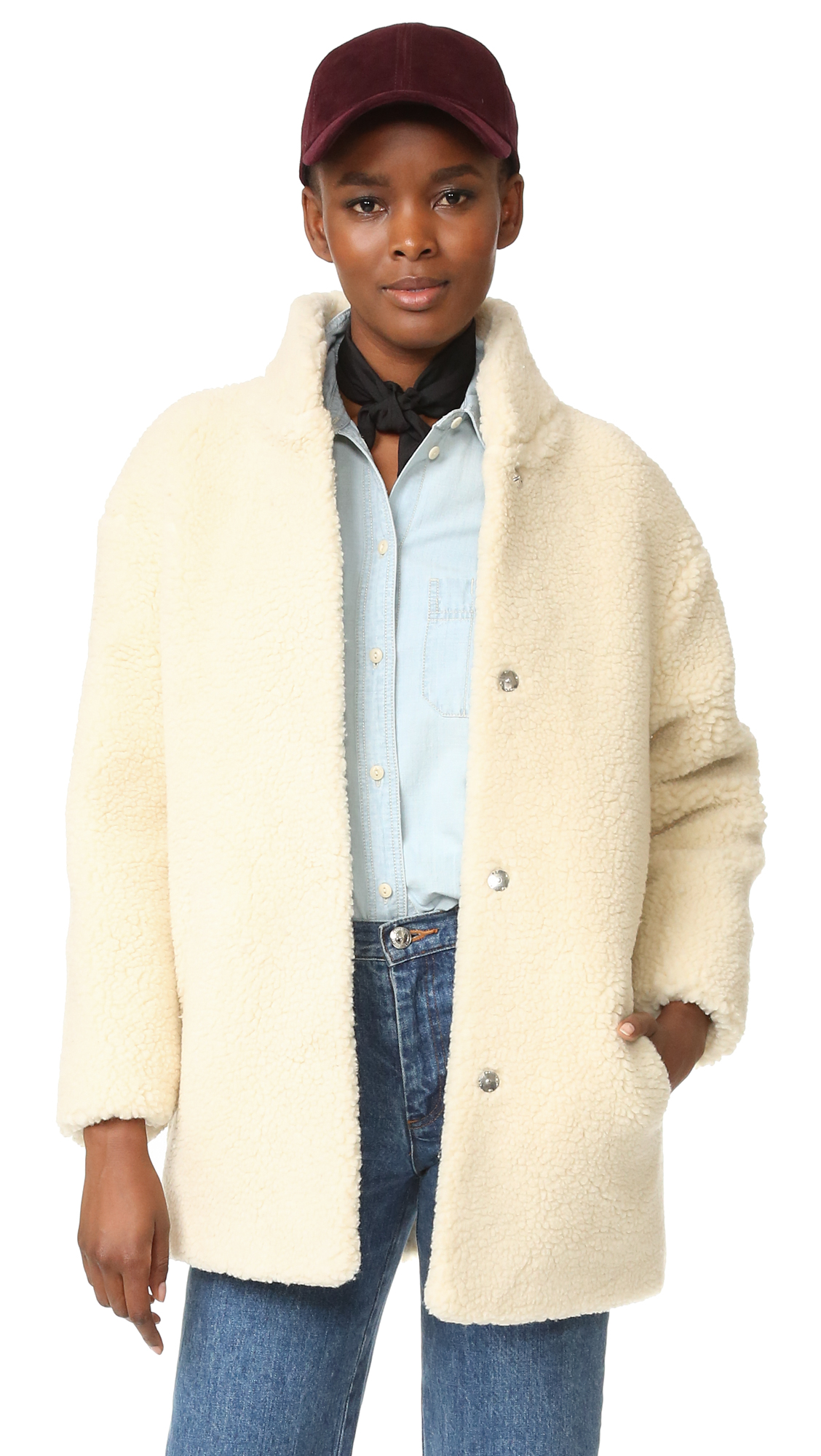 Cozy sherpa composes this warm Maison Kitsune coat. Hidden snap placket and slant front pockets. Lined. Fabric: Sherpa. 83% wool/17% polyester. Dry clean. Imported, Tunisia. Measurements Length: 30in / 76cm, from shoulder Measurements from size S. Available sizes: