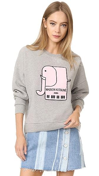 Maison Kitsune Elephant Sweatshirt In Grey Melange