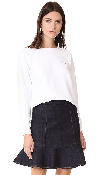 Maison Kitsune Tricolor Fox Patch Sweat Shirt - White