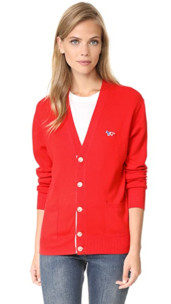 Maison Kitsune Virgin Wool Classic Cardigan - Red