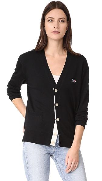 Maison Kitsune Virgin Wool Classic Cardigan - Black