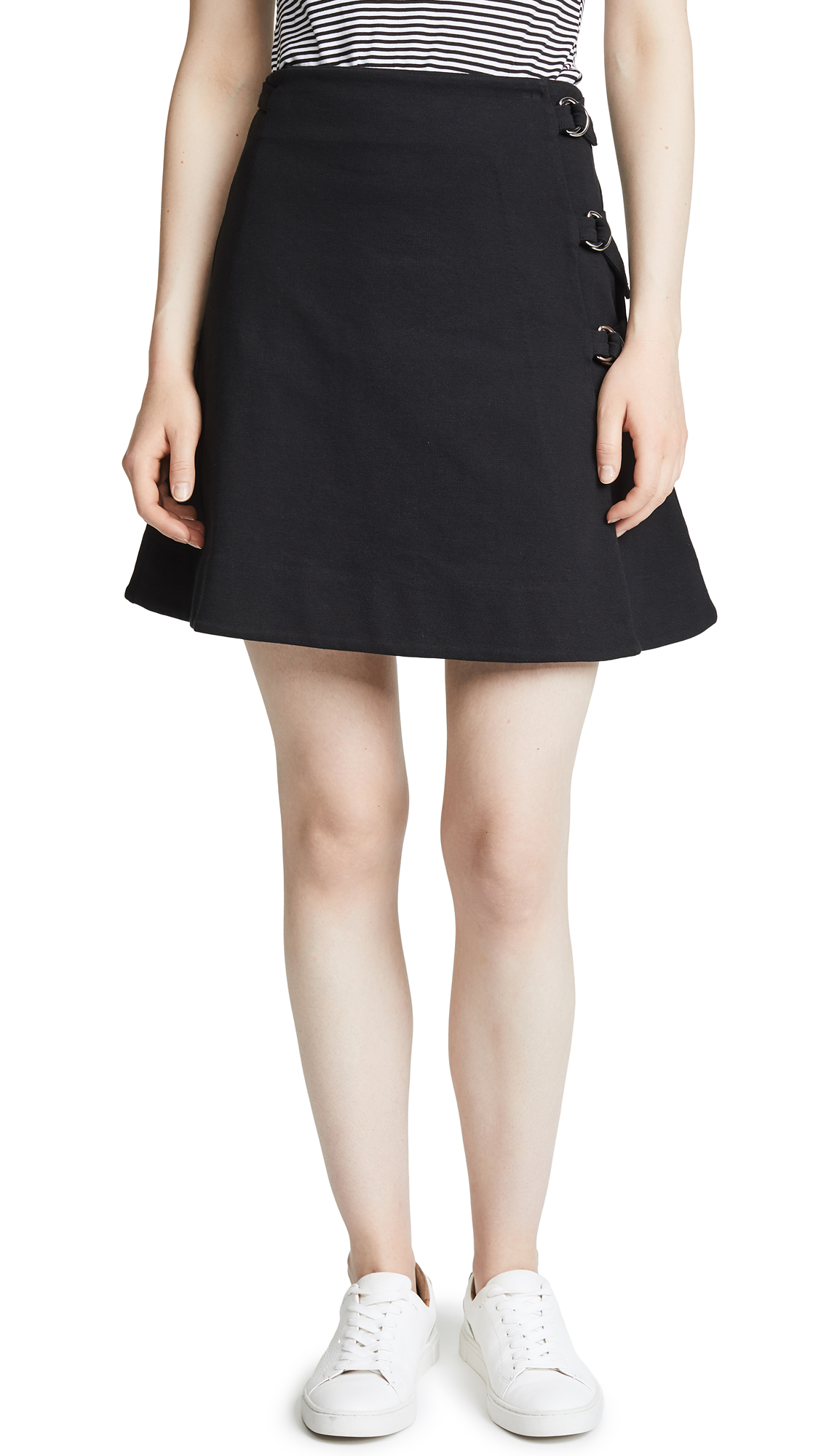 Maison Kitsune Eyelet Skirt In Black
