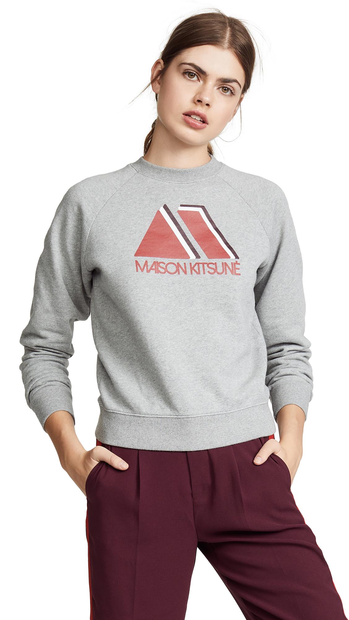 Maison Kitsune Triangle Sweatshirt In Grey Melange