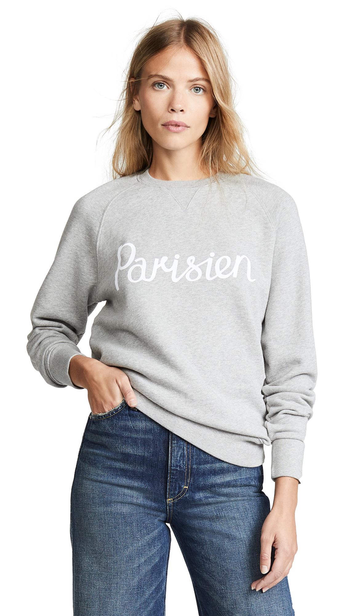 Maison Kitsune Parisienne Sweatshirt In Grey Melange