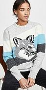 Maison Kitsune 狐狸头斜裁条纹套头衫