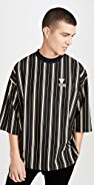 Maison Kitsune Oversized 3/4 Sleeve T-Shirt with Stripes
