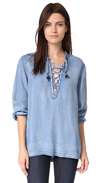 Scotch & Soda/Maison Scotch Chambray Top With Lace Closure - Denim at Shopbop