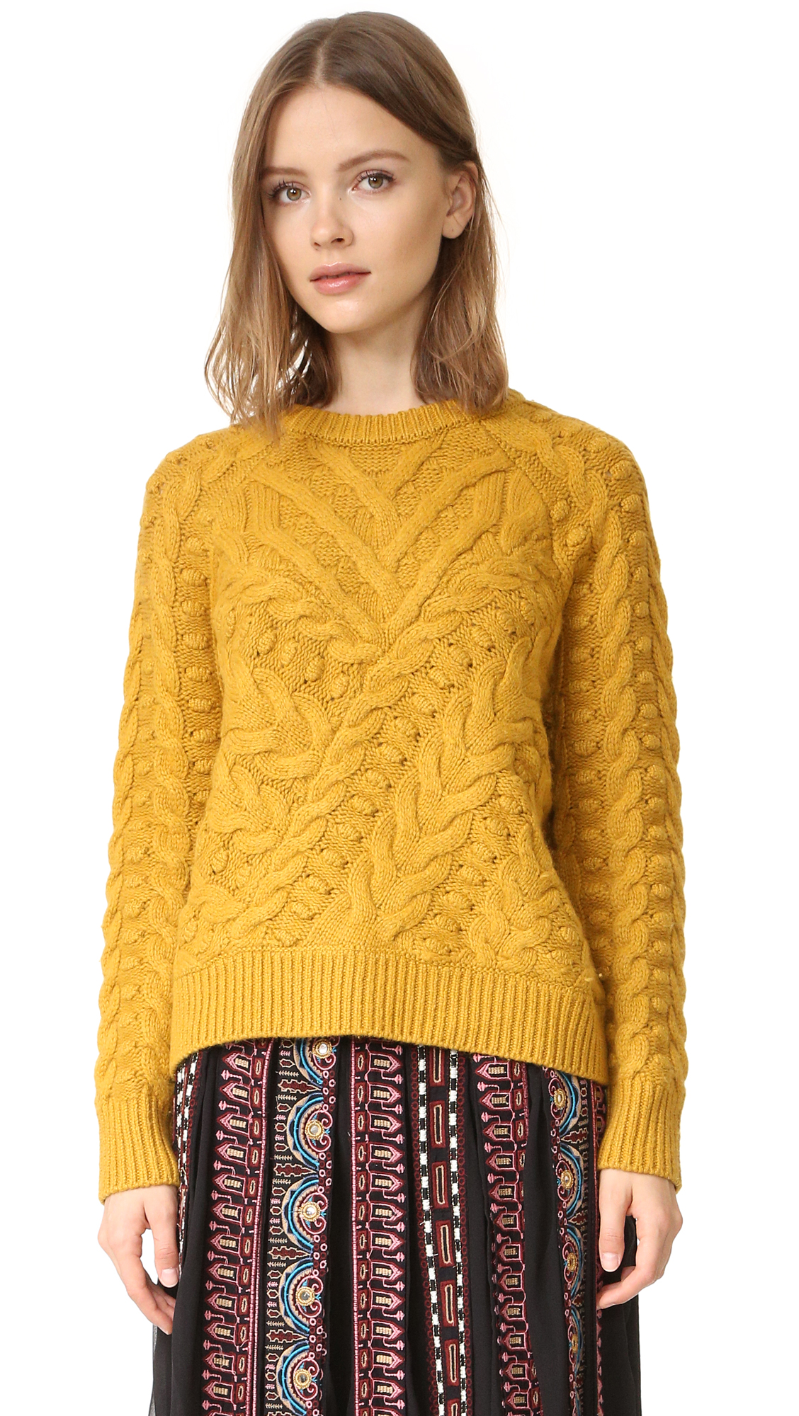 Cable designs lend rich texture to this Scotch & Soda/Maison Scotch sweater. Ribbed edges. Long raglan sleeves. Fabric: Knit. 45% wool/30% viscose/18% nylon/5% cashmere/2% polyester. Hand wash. Imported, China. Measurements Length: 22.75in / 58cm, from shoulder Measurements from