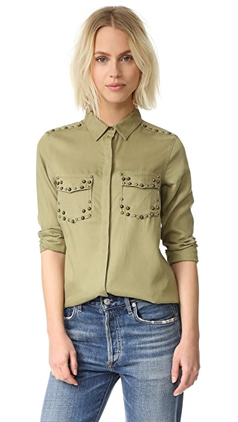 Scotch & Soda/Maison Scotch Tencel Shirt with Stud Details