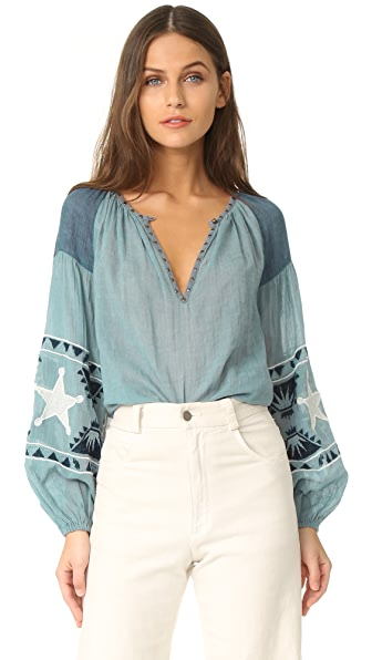 Scotch & Soda/Maison Scotch Embroidered blouse - Blue
