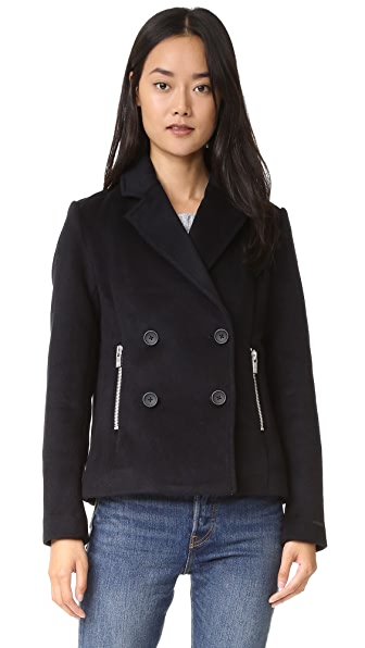 Scotch & Soda/Maison Scotch Wool Pea Coat with Zip Pockets