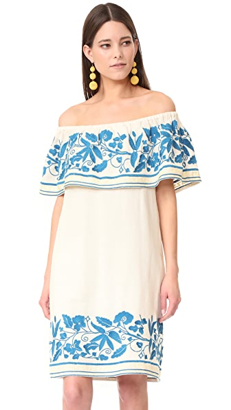 Scotch & Soda/Maison Scotch Boho Off Shoulder Embroidered Dress - White