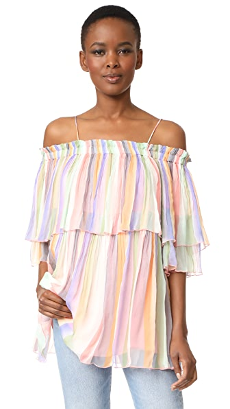 Scotch & Soda/Maison Scotch Off Shoulder Pleated Top - Multi