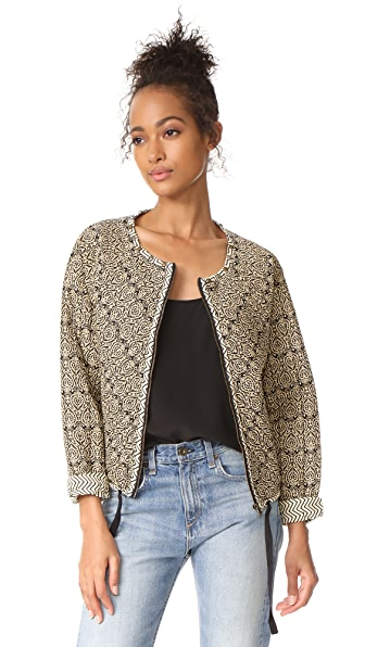 Scotch & Soda/Maison Scotch Quilted & Allover Printed Bomber Jacket In Multi