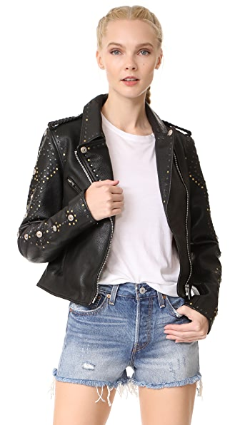 Scotch & Soda/Maison Scotch Leather Racing Biker Jacket - Black