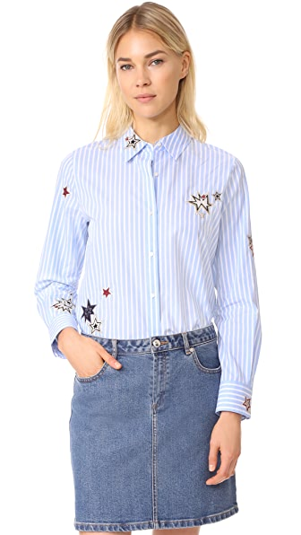 Scotch & Soda/Maison Scotch Stars Button Down Blouse - Combo S