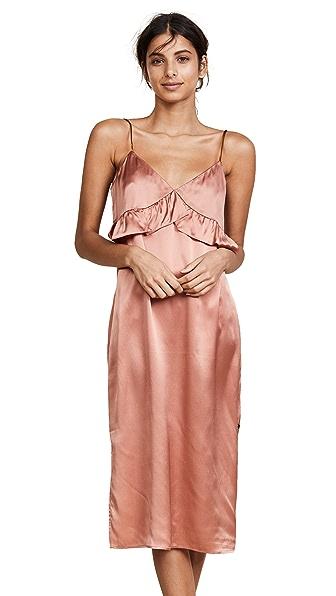 Scotch & Soda/Maison Scotch Silk Pajama Inspired Slip Dress In Sienne
