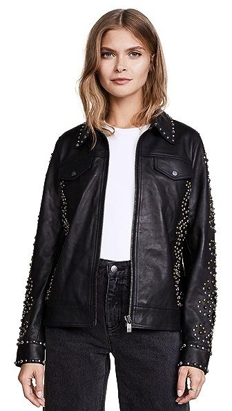 Scotch & Soda/Maison Scotch Studded Leather Jacket In Black
