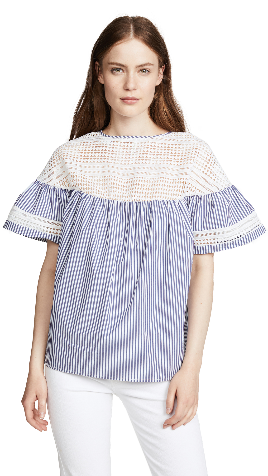 SCOTCH & SODA/MAISON SCOTCH SHORT SLEEVE STRIPED BLOUSE
