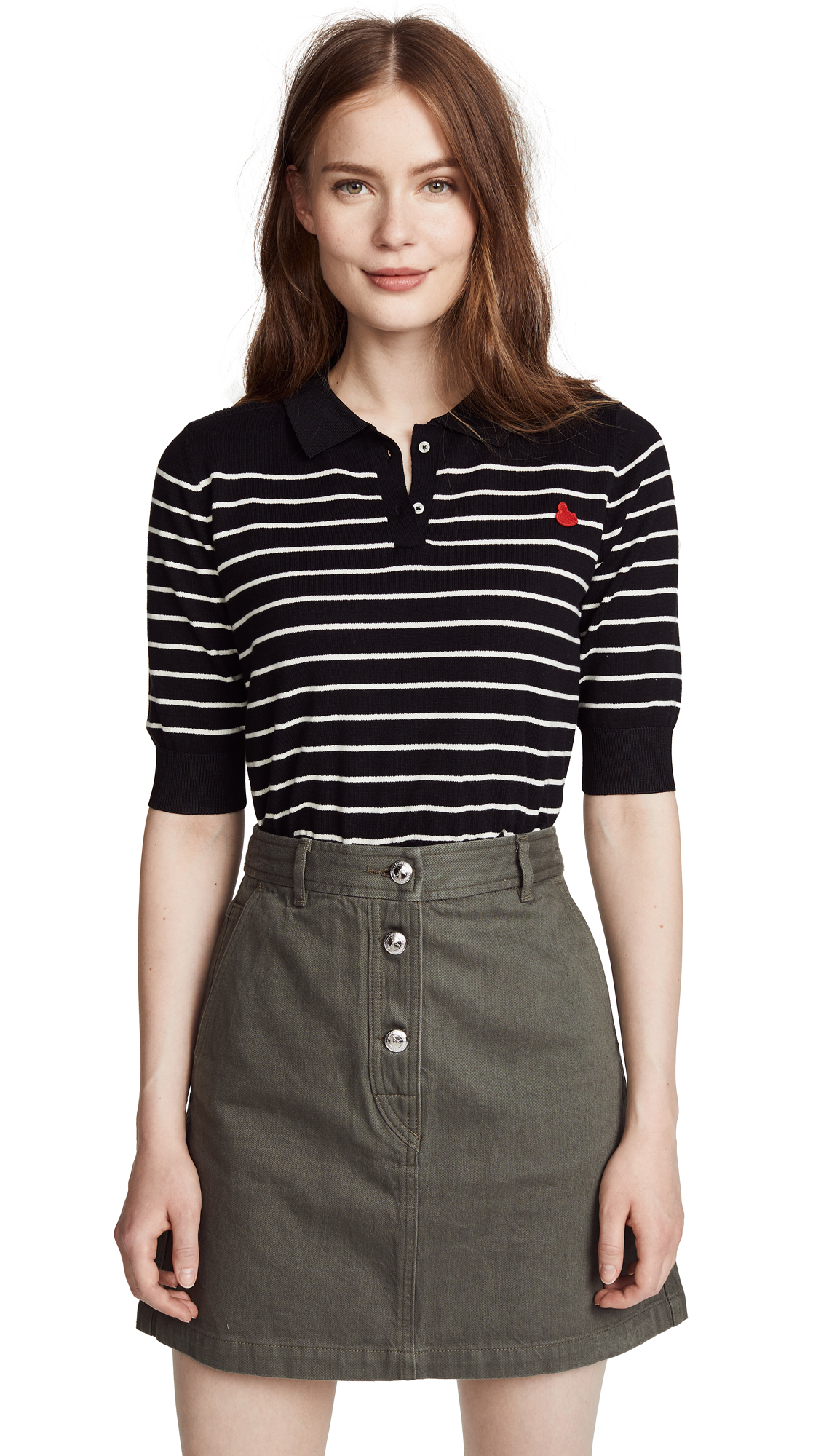 Scotch & Soda/Maison Scotch Knit Polo Tee In Stripes