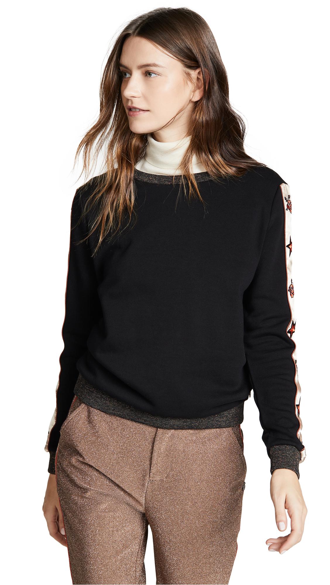 SCOTCH & SODA/MAISON SCOTCH Crew Neck Star Sweatshirt in Black