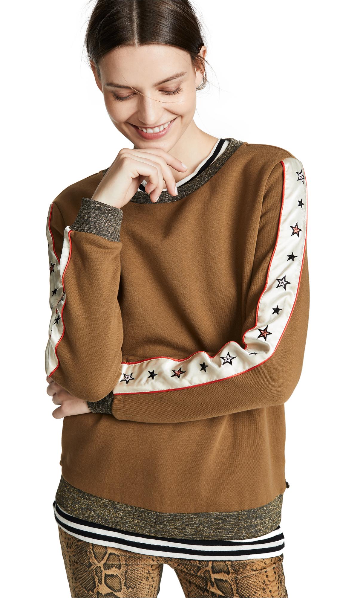 SCOTCH & SODA/MAISON SCOTCH Crew Neck Star Sweatshirt in Olive Leaf