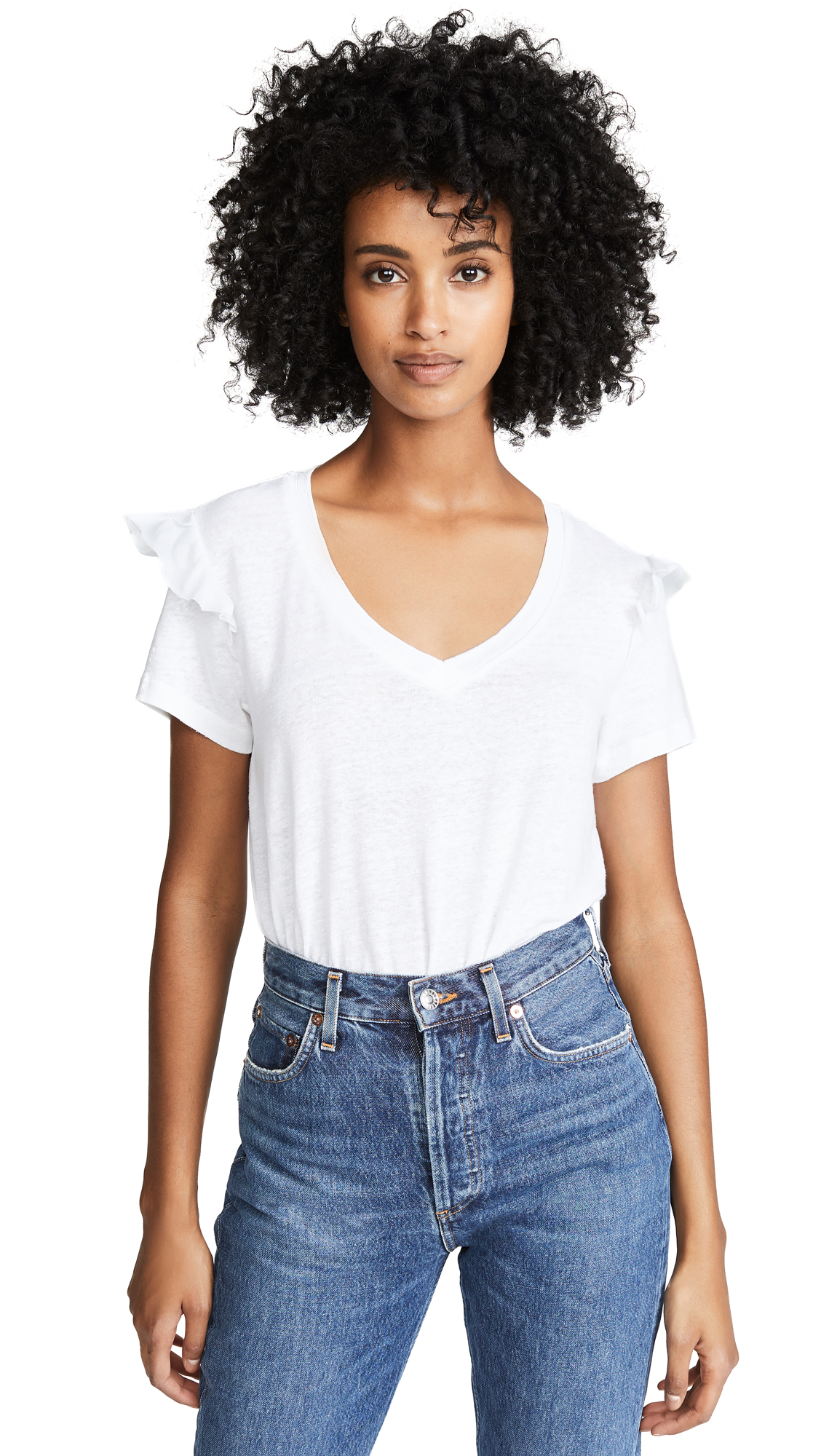 SCOTCH & SODA/MAISON SCOTCH RUFFLE SLEEVE TEE