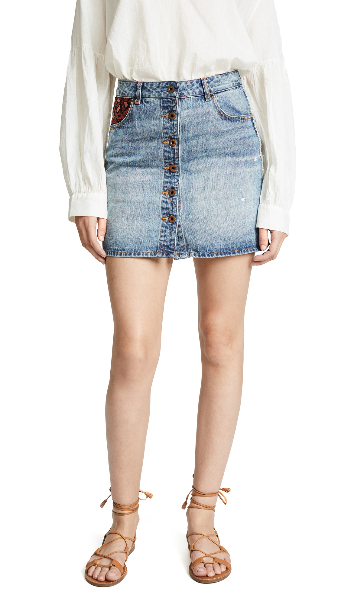 SCOTCH & SODA/MAISON SCOTCH BUTTON UP DENIM MINISKIRT